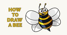 How to Draw a Cartoon Bee - Easy Drawing Tutorial Donut Drawing, Bee Drawing, Butterfly Drawing, Drawing Tips, Bird Drawings, Easy Drawings, Animal Drawings, How To Make Drawing, Drawing For Kids