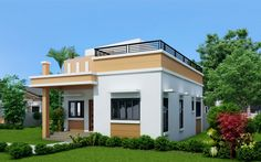In this chance i will discuss with you about one storey house with roof deck that you can choose to built your dream home, With the skyrocke. Green House Design, Simple House Design, Modern House Design, Deck Design, Best House Plans, Small House Plans, House Floor Plans, Bungalow Haus Design, Modern Bungalow House