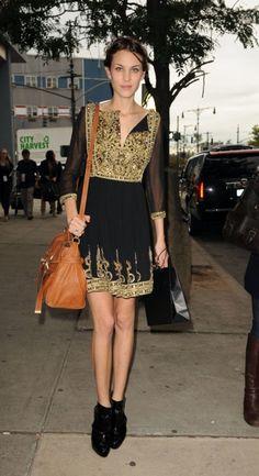 Alexa Chung, gold embroidered dress