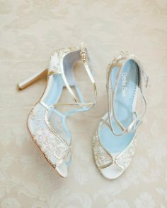 Gold embroidered wedding pumps from @bellabelleshoes with your something blue inside sole. LOVE THESE
