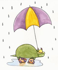 Turtle in the rain by christy beckwith