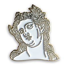 """This 'Old Lady' is up for grabs!Details:1"""" inch soft-enamel lapel pin. White filled with antique-gold metal."""