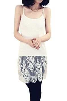 ASHERANGEL Womens Lace Trim Crop Top Extender Cami Tank Top Plus White US 4 Asian XL ** Visit the image link more details.