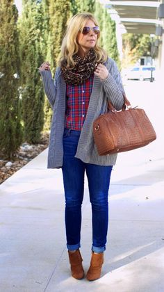 Jeans, red plaid, grey cardigan, leopard print scarf, brown ankle boots