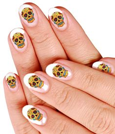 skull tattoo nails