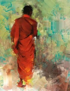 canvas painting of a Buddhist monk by irietportraitist on Etsy, $465.00
