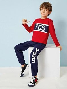 Boys Letter Print Color-Block Tee & Sweatpants Set – Kidenhouse Shoes Without Socks, Kids Swimwear, Spandex Material, Poses, Striped Tee, Outfit Sets, Boy Outfits, Sweatpants, Sweatshirts