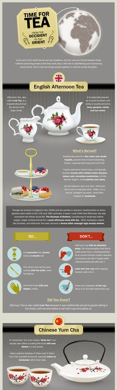 Afternoon Tea Traditions [by Fairmont Hotels & Resorts -- via #tipsographic]. More tea tips at tipsographic.com