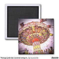Vintage retro pink sky carnival swing ride photo magnet