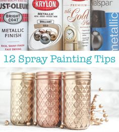 Spray Painting tips. Gold spray paint comparison too. Best Gold Spray Paint, Copper Spray Paint, Diy Spray Paint, Metallic Spray Paint, Gold Paint, Spray Painting Glass, Spray Paint Furniture, Painted Furniture, Silver Furniture