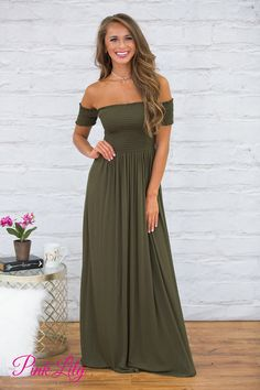 This soft dress is simply perfect for your next formal event or late night garden party! Featuring a trendy shade of olive green, you will look elegant and chic at any occasion!