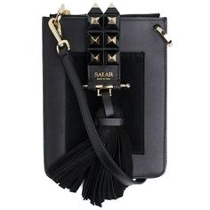 """SALAR """"Annie"""" Cross Body Bag (500 CAD) ❤ liked on Polyvore featuring bags, handbags, shoulder bags, nero, studded purse, leather handbags, leather crossbody, leather purses and crossbody shoulder bags"""