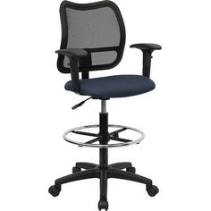 iHome Boswell Mid-Back Navy Blue Mesh Professional Drafting Chair w/Adjustable Arms