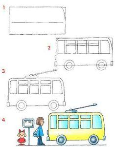 Cómo dibujar un bus Más