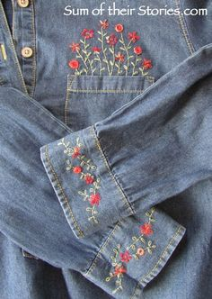embroidery shirt refashion. Love the idea of the flowers growing out of the pocket.