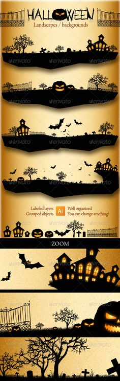 Halloween Landscapes / Backgrounds — Vector EPS #cross #pumpkin • Available here → https://graphicriver.net/item/halloween-landscapes-backgrounds/500797?ref=pxcr