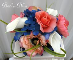 Coral and royal blue flowers...TOO PERFECT!!! @Gina Boling