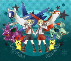 hetalia crossover pokemon - Google Search<-- I also think Feli and Lovi have a Latios and Latias~ Pero this is so amazing~!