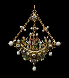 Gondola Pendant. Enamelled gold pendant mounted with cdiamond, pearl and ruby representing a gondola rowed by two gondoliers with a couple seated under a baldochhino serenaded by two musicians. Second half of the 19th century.