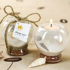 Sand And Shell Filled Tea Light Holder