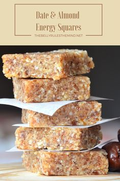 These energy squares are the perfect healthy treat to have when you are watching what you are eating! Easy, nutritious and much less expensive than the store bought bars.http://bit.ly/1st4mSS