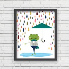 Watercolor Home Decor Nursery Wall Art - Frog in Rain Art Print - 8x10 on Etsy, $19.99