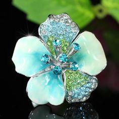 Blue Ceramic Flower Austrian Crystal Ring