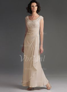 Mother of the Bride Dresses - $120.21 - A-Line/Princess Scoop Neck Floor-Length Chiffon Mother of the Bride Dress With Ruffle Lace Cascading Ruffles (0085057599)