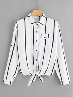 SHEIN offers Single Breasted Striped Blouse & more to fit your fashionable needs. Girls Fashion Clothes, Girl Fashion, Fashion Outfits, Clothes For Women, Spring Shirts, Spring Blouses, Shirt Blouses, T Shirt, Mode Hijab