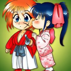 Kenshin Himura And Kamiya Kaoru : Available as Cards, Prints, Posters, T-Shirts & Hoodies, Kids Clothes, Stickers, iPhone & iPod Cases, and iPad Cases