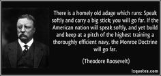 There is a homely old adage which runs: Speak softly and carry a big stick; you will go far. If the American nation will speak softly, and yet build and keep at a pitch of the highest training a thoroughly efficient navy, the Monroe Doctrine will go far. (Theodore Roosevelt)   #quotes #quote #quotations #TheodoreRoosevelt