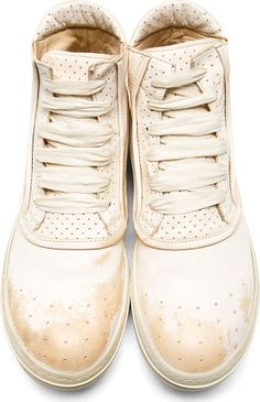 Officine Creative: White Scuffed Leather Perforated Figaro Sneakers