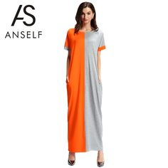 New Fashion Women Dress Contrast Color Pocket O-Neck Short Sleeve Casual Loose Long Maxi Dress Orange