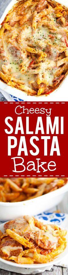Cheesy Salami Pasta Bake recipe - Quick and easy Salami Pasta Bake recipe…