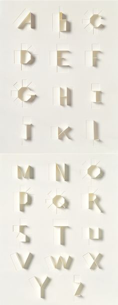 The paper alphabet is a bespoke typeface constructed specifically for the book, Sculpture Today, a beautifully illustrated overview of modern sculpture published by Sonya Dyakova and published by Phaidon Press.