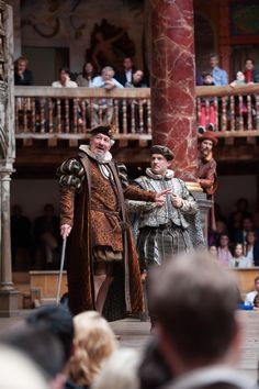 The Taming of the Shrew directed by Toby Frow. Michael Bertenshaw as Gremio, Rick Warden as Hortensio. Photo (C) Manuel Harlan