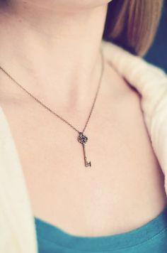Small Key Necklace  Vintage Style Jewelry by EternalEdenJewelry