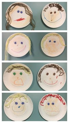 """Self-portrait paper plate art, pre-k, all about me week. We made these during … Self-portrait paper plate art, pre-k, all about me week. We made these during all about me week. I paired it with """"I like me"""" book by Karen Beaumont. Preschool Themes, Preschool Lessons, Preschool Classroom, Preschool Learning, Preschool Activities, All About Me Activities For Preschoolers, Feelings Preschool, All About Me Crafts, All About Me Book"""