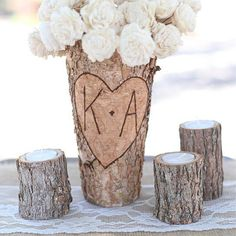 FAMS1049 Personalized Rustic Birch Vase
