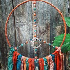Boho Dreamcatcher, Spiritual Decor, Buddha Art, Boho Wall Hanging, Dream Catcher Boho, Rust Orange, Frame Wreath, Moon Art, Czech Glass Beads