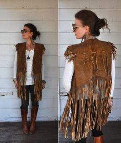 Leather FRINGES Vest Southwestern Native American by LaDeaDeiSogni