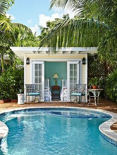 House of Turquoise. Small pool house, or just small house! Beach House Tour, House Of Turquoise, Tropical Pool Landscaping, Backyard Pools, Outdoor Pool, Landscaping Ideas, Outdoor Office, Backyard Landscaping, Backyard Ideas