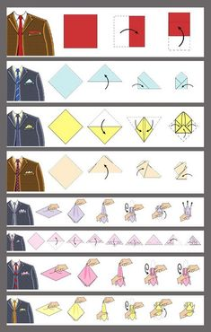 info-graph . Great visual for how to fold hanker chiefs for suit pocket