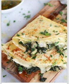 Whole Wheat Spinach Artichoke and Brie Crepes with Sweet Honey Sauce