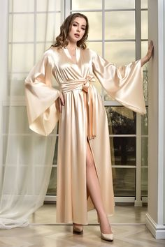 Lace Bridal Robe, Bridal Robes, Bridal Gown, Wedding Lingerie, Bride Dressing Gown, Satin Dressing Gown, Rosa Satin, Blue Satin, Blue Bridal
