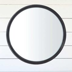 Large Round Framed Mirror #mirror #wallmirror Large Round Mirror, Round Frame, Round Mirrors, Black Mirror, Mirror Mirror, Framed Mirrors, Farmhouse Style Decorating, Farmhouse Decor, Apartment Entryway