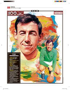 Gordon Banks 100 Leyendas del Deporte / 100 Sports Legends by Jesús R. Sánchez, via Behance