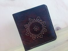 Leather wallet, men leather wallet, men's wallet, vegetable leather, handmade, leather carving, Dyeing craft, leather crafts,sun pattern