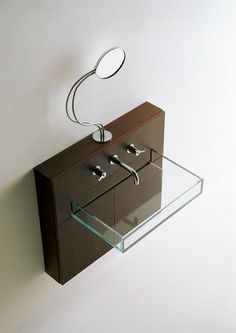Boxes washbasin in crystal glass with light oak unit - from Agape, Benedini Associati
