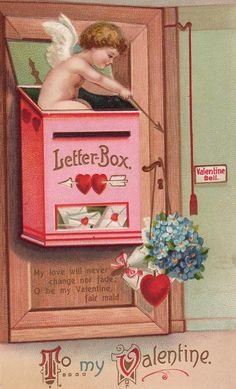 """Early century """"To my Valentine"""" postard, with art by Ellen Clapsaddle, widely recognized as the most prolific postcard artist of her day. Make valentines Collection for you My Funny Valentine, Valentine Cupid, Valentine Images, Valentines Greetings, Vintage Valentine Cards, Valentines Day Hearts, Valentine Day Crafts, Vintage Holiday, Vintage Cards"""